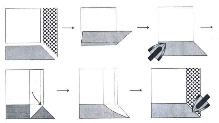 (рис. 1) Последовательность сборки лоскутного полотна по технологии преодоления тупого угла