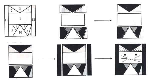 (рис.1)Последовательность сборки узора «Котенок»
