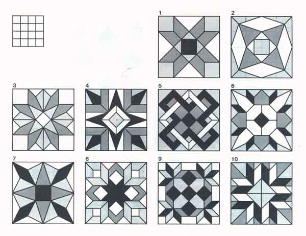 (рис.2) Узоры, выполняемые по технологии преодоления тупого угла по сетке 4x4