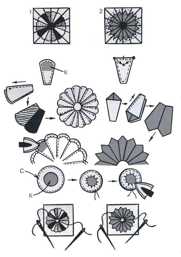 (рис.1)Последовательность сборки узоров, выполняемых по сетке «Розетка»