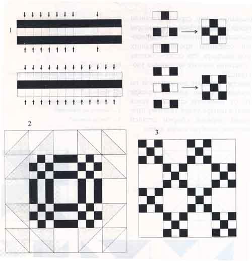 (рис. 1) 1 - последовательность сборки, 2 - узор «Гусь в пруду», 3 - узор «Ирландская цепь»