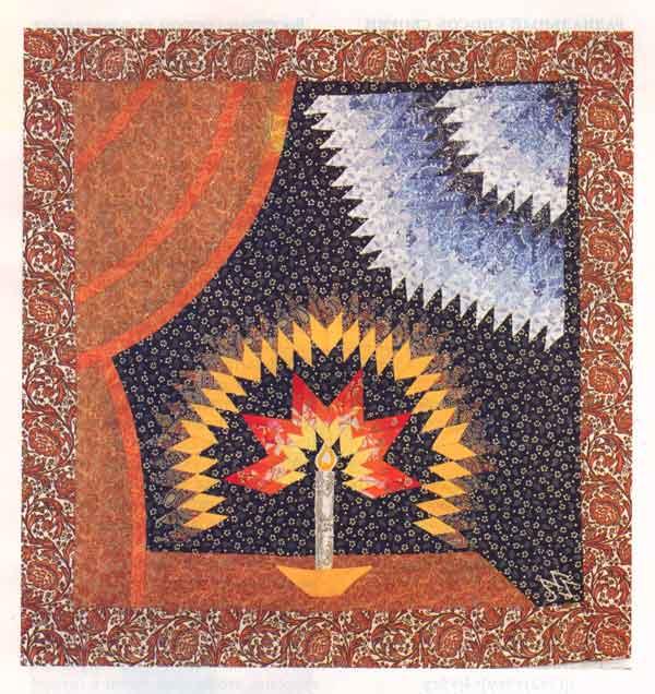 Панно «Свеча». Лоскутная мозаика, узор «восьмилучевая звезда»