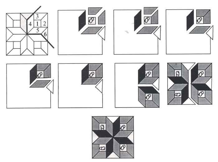 (рис.1) Последовательность сборки узора «Аттические окна»