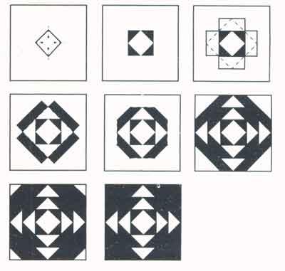 (рис.1) Последовательность сборки узора «Ананас»