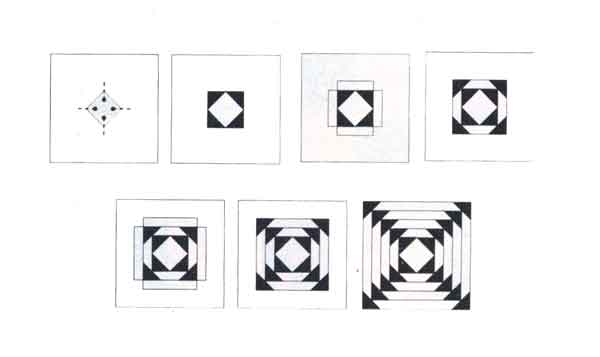 (рис.1)Последовательность сборки узора «Русский квадрат»