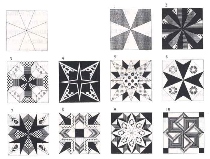 (рис.1)Узоры, выполняемые по сетке восьмиконечных звезд